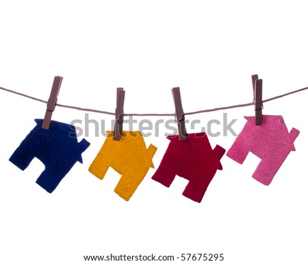 Colour Houses on the rope isolated - stock photo