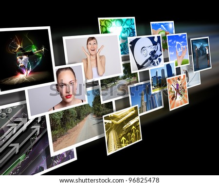 Colour images flow representing modern media technology - stock photo