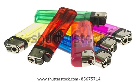 colour lighters isolated on a white background - stock photo