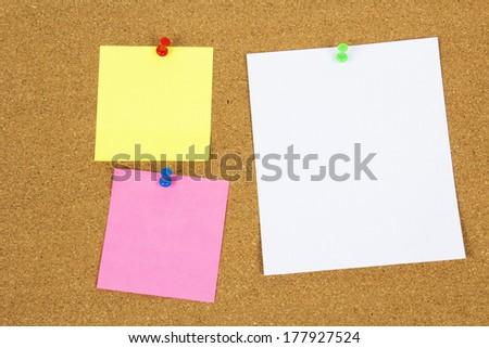 colour notes on cork board - stock photo