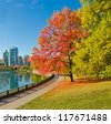 Colour of the autumn. Gorgeous sea walk in the park. Stanley Park in Vancouver. Canada. - stock photo