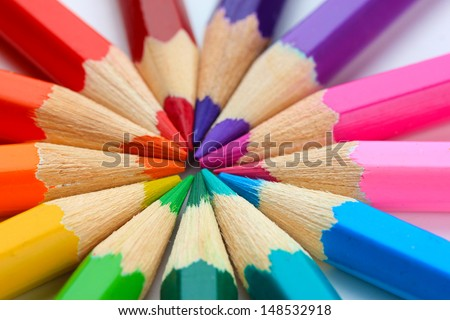 Colour pencils, close up - stock photo