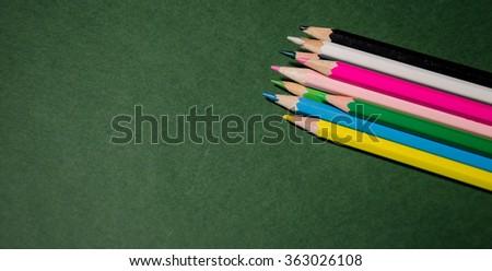 Colour pencils, close up - stock photo
