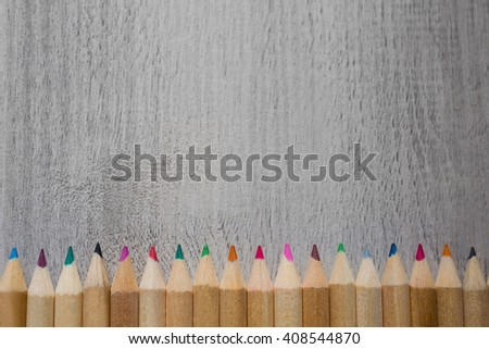 Colour pencils, colored pencils lay in a row, school design, items for school design, colored flat education tools   - stock photo