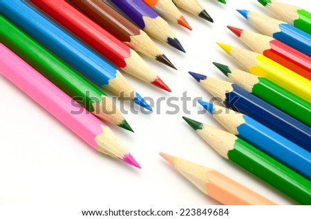 Colour pencils isolated on white background - stock photo