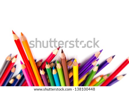 Colour pencils isolated on white background. Back to school concept. - stock photo