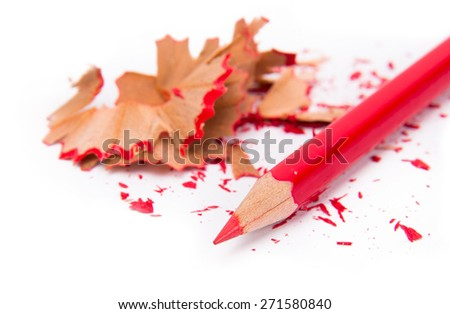 Colour pencils isolated on white background close up, pencil sharpening remains - stock photo