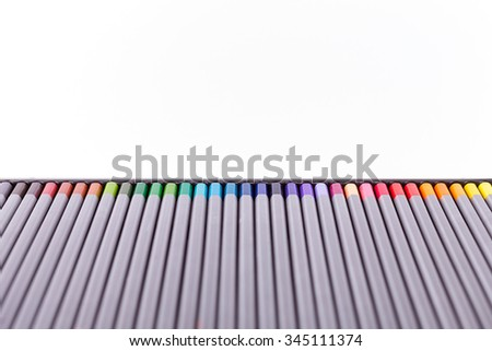 Colour pencils isolated on white background close up pencils, pencils nobody, pencils paint, pencils wood, art pencils - stock photo