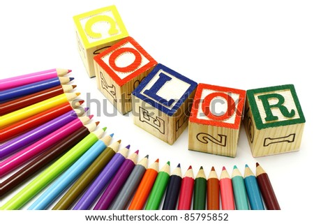 Colour pencils on a white background - stock photo