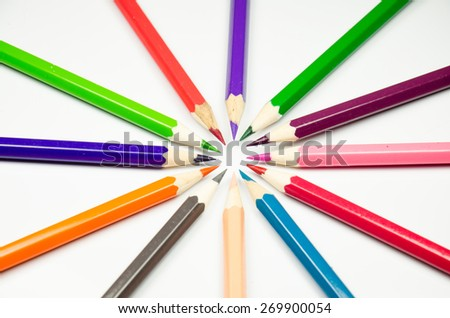 Colour pencils on white background  - stock photo