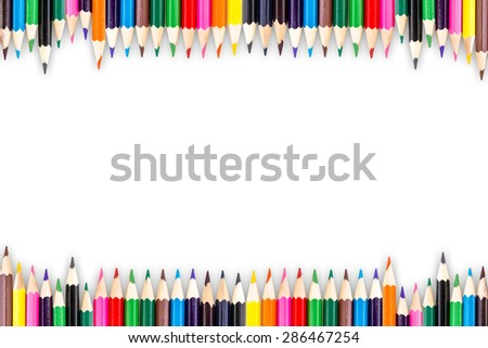 Colour pencils with shadow isolated on white background - stock photo