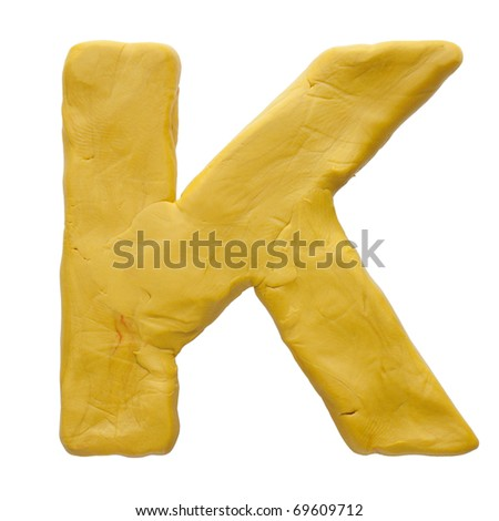 Colour plasticine letter isolated on a white background - stock photo