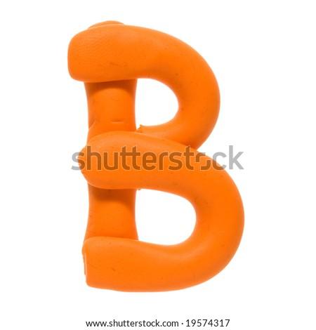 Colour plasticine letter isolated on a white background - orange B - stock photo