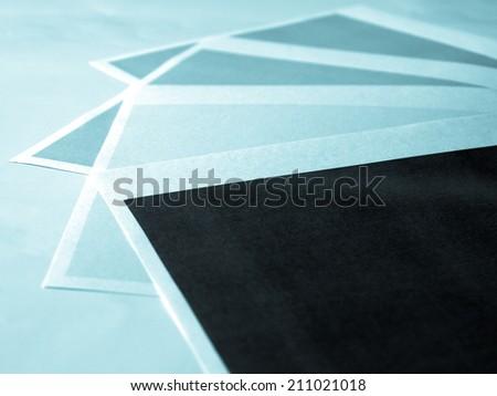 Colour printer print test of black cyan magenta yellow tones - cool cyanotype - cool cyanotype - stock photo
