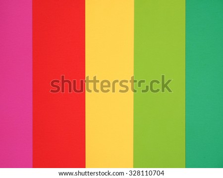 Colour samples printed on paper - red, orange, yellow, green, pink