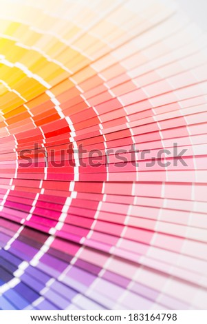 Colour swatches book. Rainbow sample colors catalogue. - stock photo
