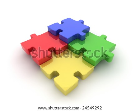 Coloured (Colored) jigsaw illustration. High quality computer generated 3D illustration of a jigsaw puzzle to represent various concepts such as teamwork, choices, diversity and individuality.