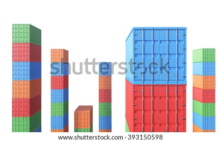 Coloured containers arranged in tall towers. White background. Concept of storage. 3D rendering