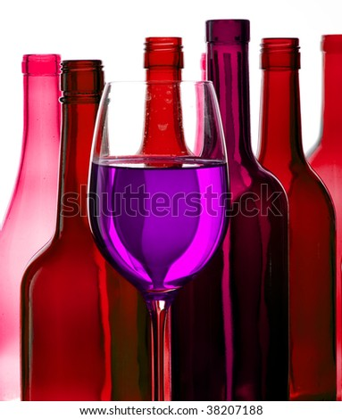 Coloured creative bottles.  Wine and bottles