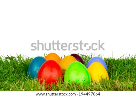 coloured easter eggs in a meadow