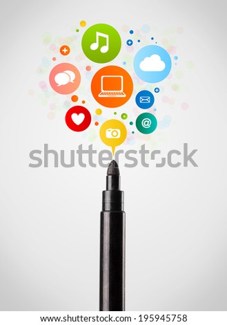 Coloured felt pen close-up with social network icons - stock photo