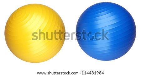 Coloured fitness balls isolated on white background. 3d render illustration - stock photo