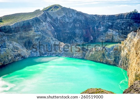 Coloured lakes at Kelimutu, Flores, Indonesia - stock photo