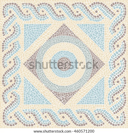 Coloured mosaic antique style background - stock photo