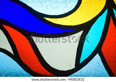 coloured pattern on glass - stock photo