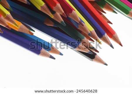 Coloured pencils in many different colors