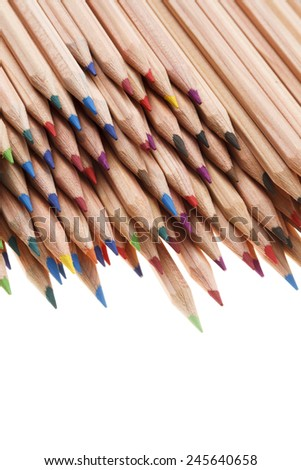 Coloured pencils in many different colors - stock photo