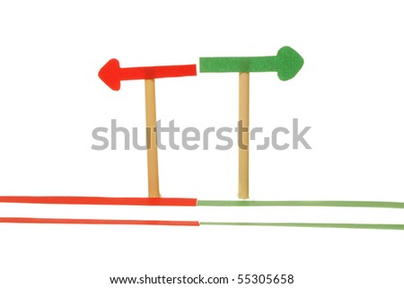 Coloured sign on white isolated background