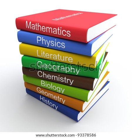 Coloured textbooks, built in a pile. Isolated 3d - stock photo