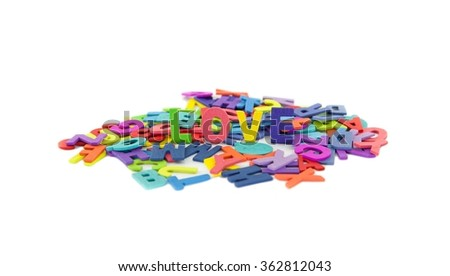 Colourful alphabet love isolated background.