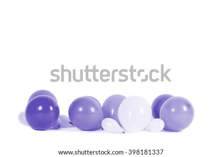 Colourful balloons isolated on white with copy space