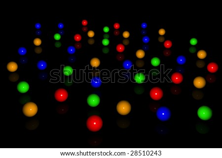 colourful balls, pool balls, lots of balls, loads of balls, reflective surface, shiny table, shiny colourful balls, black table, black background, balls reflection, flat surface,