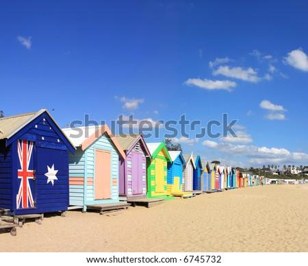 Colourful bathing boxes at Brighton Beach, Melbourne, Australia.  A Melbourne icon. - stock photo