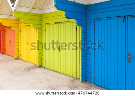 Colourful beach huts at the seaside