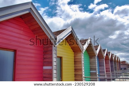 Colourful Beach Huts in Blyth - stock photo