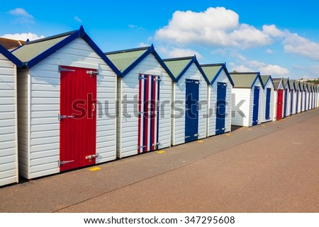 Colourful beach huts on Preston Sands promenade Paignton Torbay Devon England UK Europe
