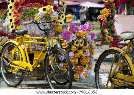 Colourful bikes in the city of Melaka in Malaysia.