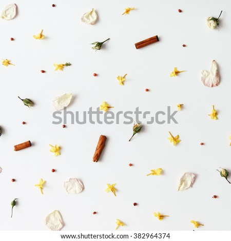 Colourful bright pattern made of flowers - stock photo