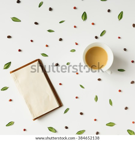 Colourful bright pattern made of natural things with coffee cup. - stock photo