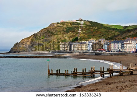 Colourful buildings by North Beach, Aberystwyth - stock photo