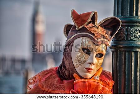 Colourful carnival mask in Venice. - stock photo