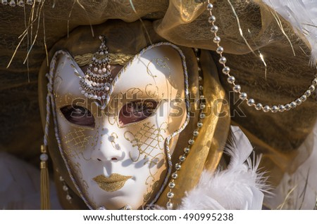 Colourful carnival mask in Venice.