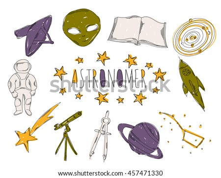 Colourful childrens illustration with a pencil. The collection of linear hand drawn icons. Icons tools of the astronomer. illustration