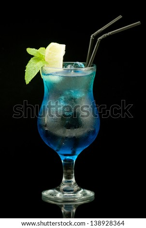 colourful cocktail on the black background - stock photo