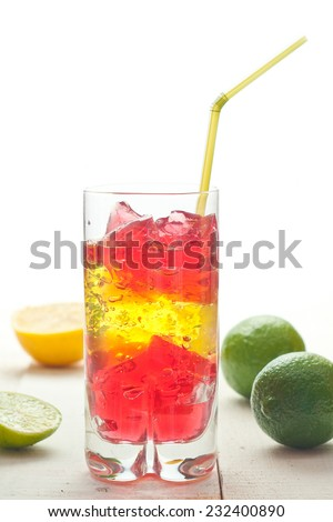colourful coctail on the white background - stock photo