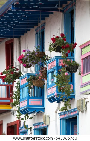 colourful colonial style wooden balconies in Salento Colombia